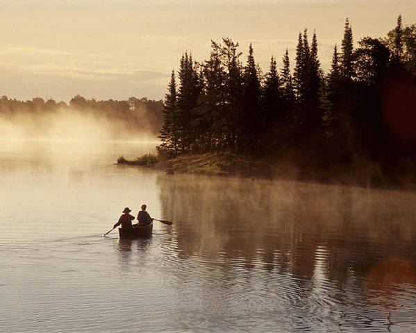 Back-light Poster featuring the photograph Canoeing On Winnipeg River, Pinawa by Dave Reede