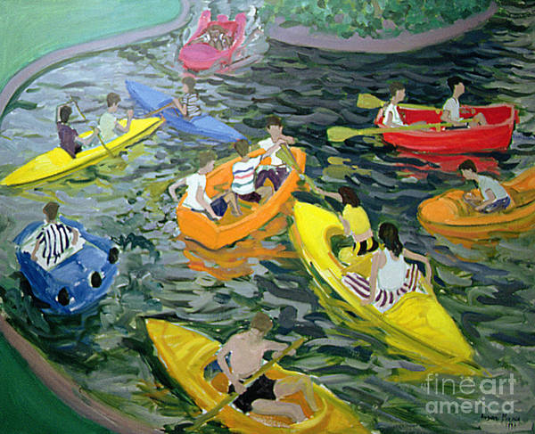 Canoe Poster featuring the painting Canoes by Andrew Macara