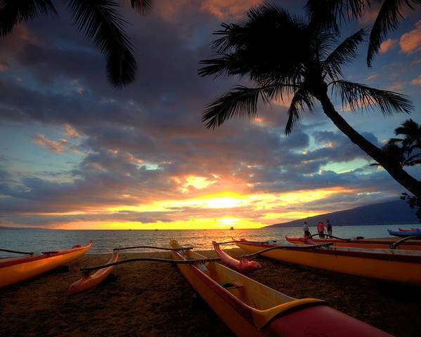 Palm Trees Maui Hawaii Kihei Canoe Club Ocean Sunset Tropics Clouds Poster featuring the photograph Canoes by James Roemmling