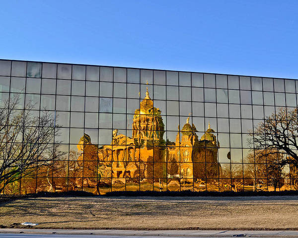 Des Moines Poster featuring the photograph Capital Reflections by Brenda Becker