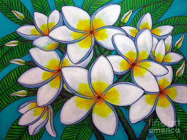 Frangipani Poster featuring the painting Caribbean Gems by Lisa Lorenz