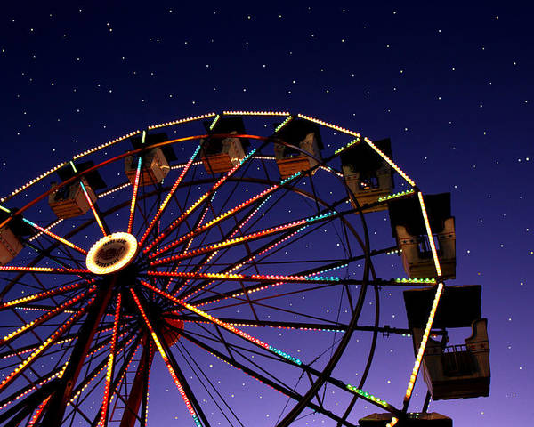 Horizontal Poster featuring the photograph Carnival Ferris Wheel Against Starry Night Sky by Heather Cate Photography