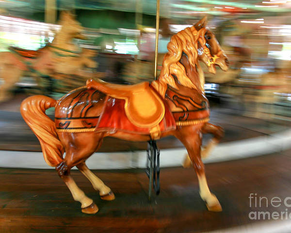 Carousel Poster featuring the photograph Carousel Horse by Ken Marsh