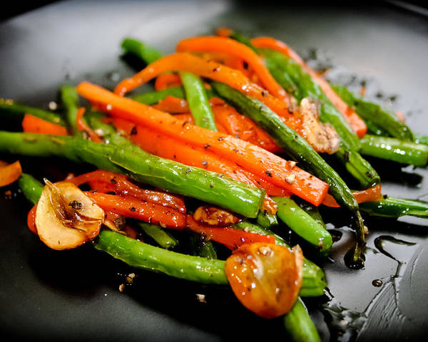 Horizontal Poster featuring the photograph Carrot And Green Beans Stir Fry by Iris Filson