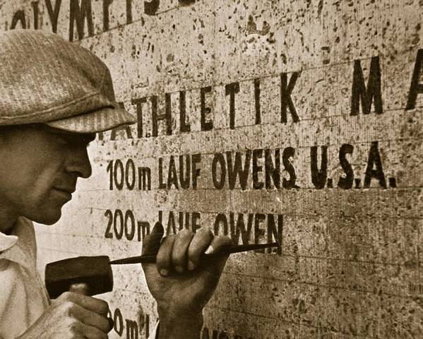 Jesse Poster featuring the photograph Carving The Name Of Jesse Owens Into The Champions Plinth At The 1936 Summer Olympics In Berlin by American School