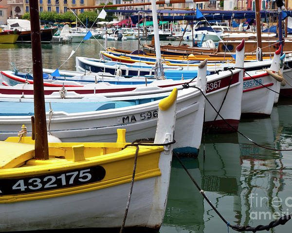 Colorful Poster featuring the photograph Cassis Boats by Brian Jannsen