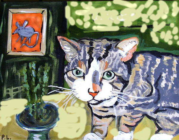 Animals Poster featuring the painting Cat And Mouse Friends by Patricia Lazar