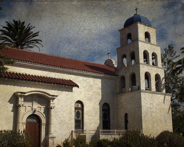 Church Poster featuring the photograph Catholic Church Old Town San Diego by Linda Dunn
