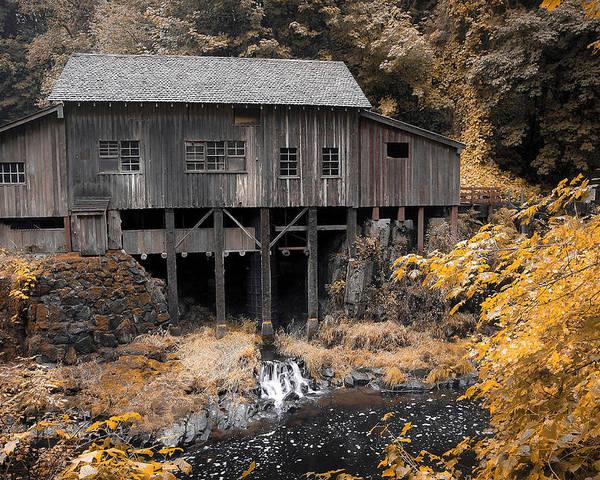 Cabin Poster featuring the photograph Cedar Creek Grist Mill by Steve McKinzie