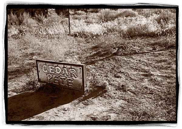 Black Poster featuring the photograph Cedar Pete Gravesite In Grafton Utah by Steve Gadomski
