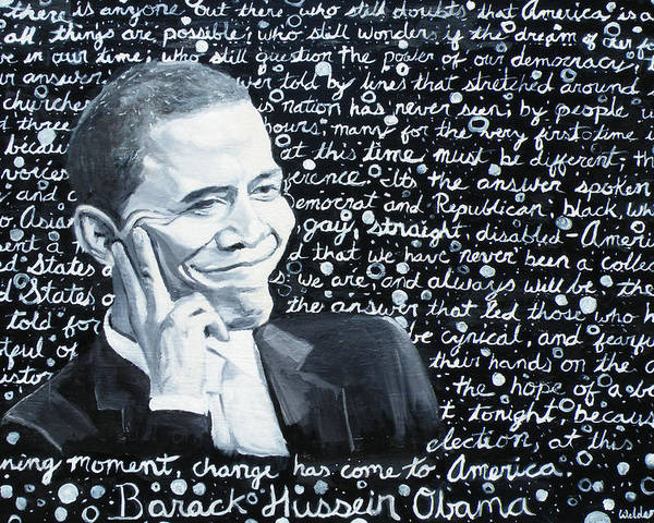 Barack Poster featuring the painting Celebrate Change by Welder Ramiro Vasquez