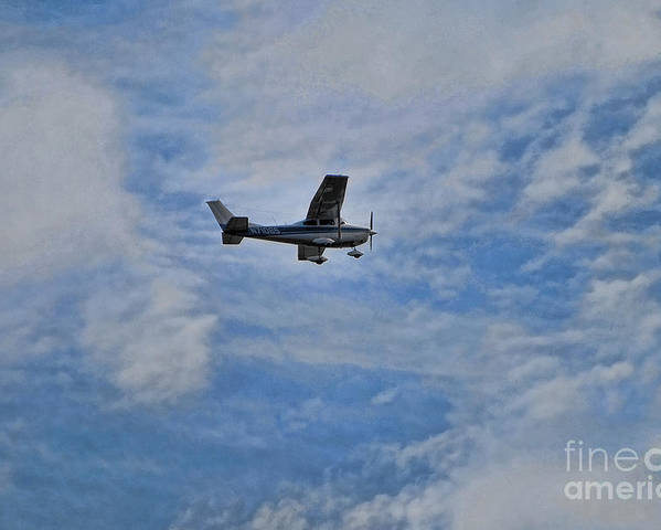 Cessna In Flight Poster featuring the photograph Cessna In Flight by Paul Ward
