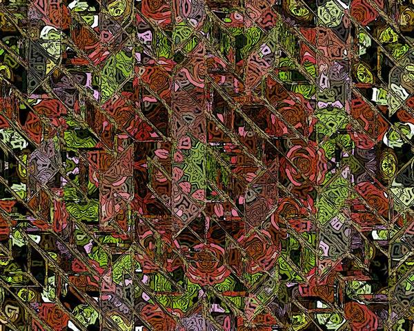 Chaos Abstract Digital Painting Red Rose Roses Black Hole Mosaic Texture  Poster featuring the painting Chaos by Steve K