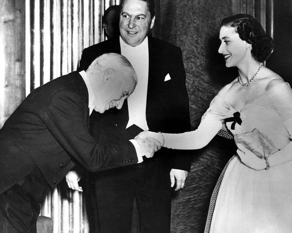 1950s Poster featuring the photograph Charlie Chaplin Meeting Princess by Everett