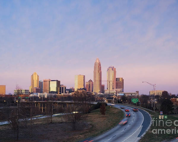 Architecture Poster featuring the photograph Charlotte Skyline At Sunrise by Jeremy Woodhouse