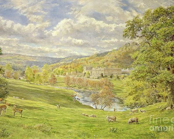 Landscape; Deer; Park; Sheep; Pastoral; Stately Home; Duke Of Devonshire; Devonshire; Chatsworth; Tree; Trees; Hill; Hills; Water; Green; Grass; Tranquil; Serene Animals; Grazing Poster featuring the painting Chatsworth by Tim Scott Bolton