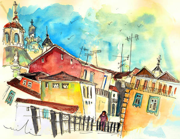 Portugal Poster featuring the painting Chaves in Portugal 02 by Miki De Goodaboom