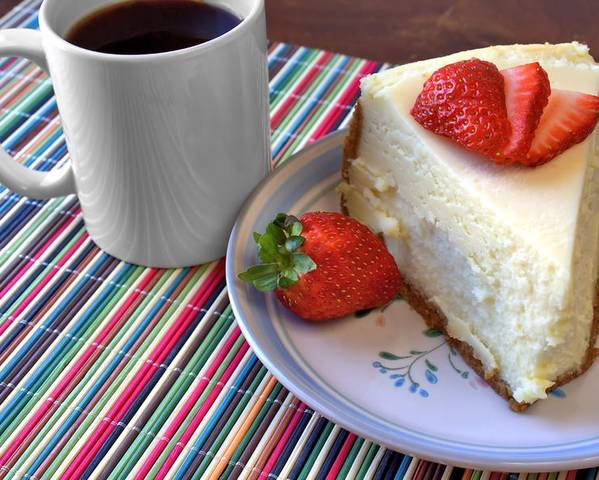 Coffee Poster featuring the photograph Cheesecake by Lynnette Johns