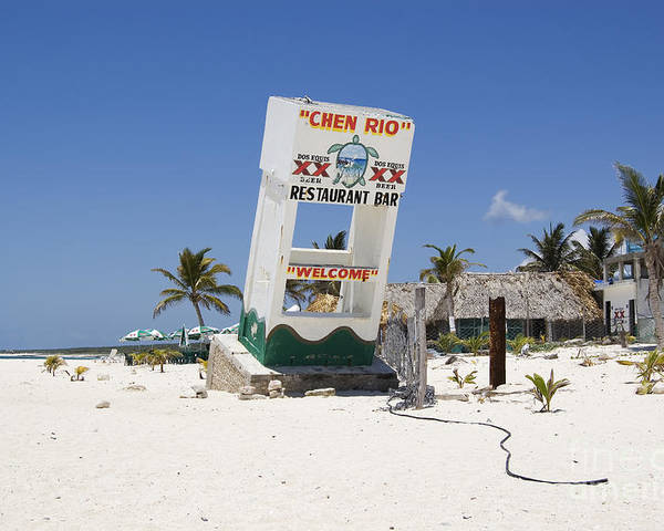 Cozumel Poster featuring the photograph Chen Rio Beach Bar Cozumel Mexico by Shawn O'Brien