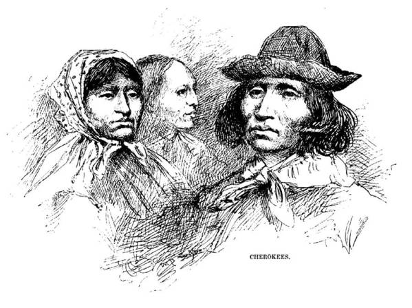 1880s Poster featuring the photograph Cherokee Tribe. Engraved Portraits by Everett