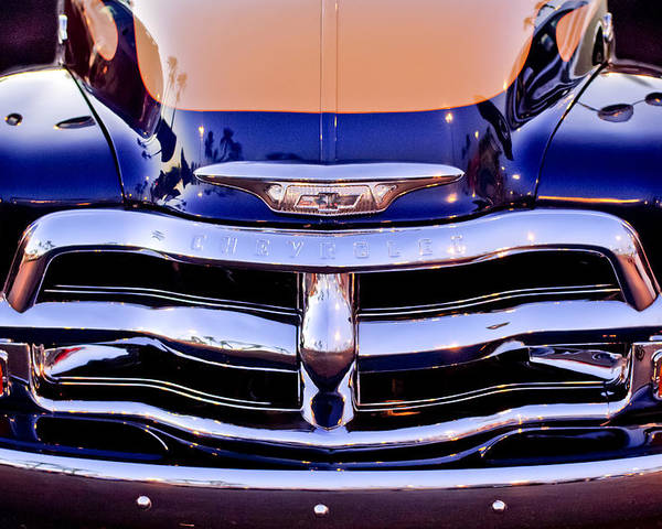 Chevrolet Pickup Truck Poster featuring the photograph Chevrolet Pickup Truck Grille Emblem by Jill Reger
