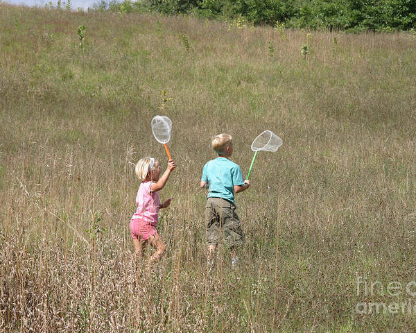 Science Poster featuring the photograph Children Collecting Insects by Ted Kinsman