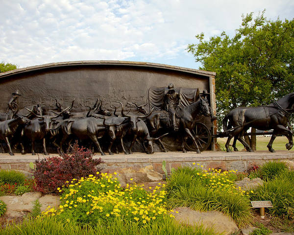 Landscape Poster featuring the photograph Chisholm Trail Monument by Toni Hopper