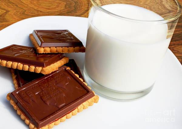 Chocolate Coated Butter Cookies Poster featuring the photograph Chocolate Coated Butter Cookies And Milk by Barbara Griffin