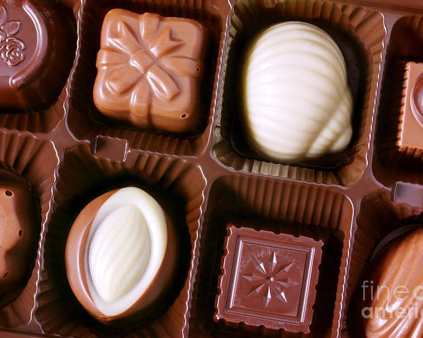 Assorted Poster featuring the photograph Chocolates Closeup by Carlos Caetano