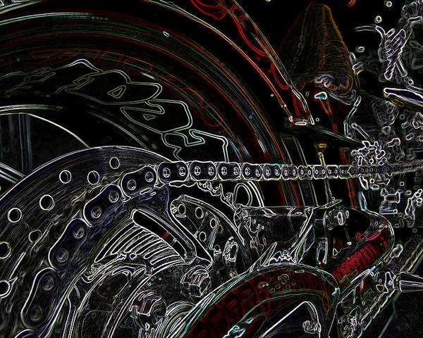 Motorbike Poster featuring the mixed media Chopped An Tron'd by Travis Crockart