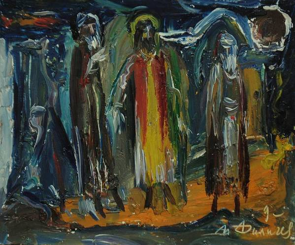 Christ Poster featuring the painting Christ And Judas by Ivan Filichev