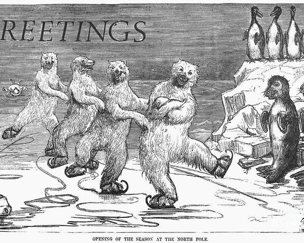 1875 Poster featuring the photograph Christmas: Polar Bears by Granger