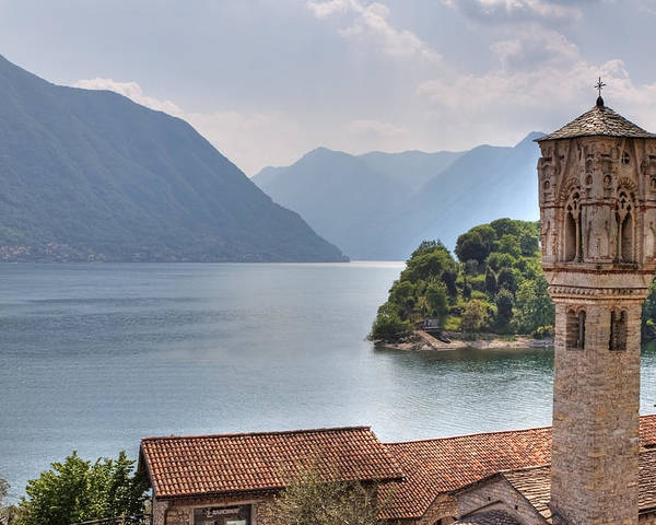 Travel Europe Poster featuring the photograph church at the Lake Como by Joana Kruse