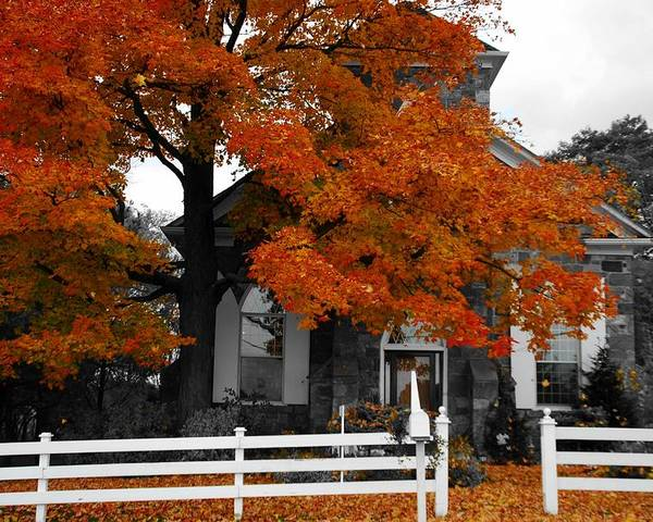 Fall Poster featuring the photograph Church In Autumn by Andrea Kollo