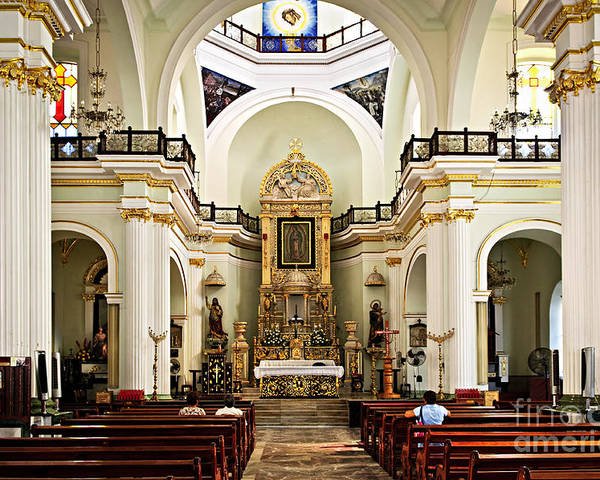 Church Poster featuring the photograph Church Interior In Puerto Vallarta by Elena Elisseeva