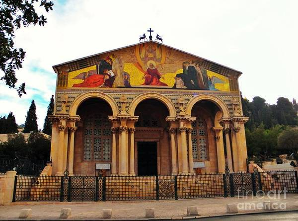 Upon The Mount Of Olives Sits The Church Of All Nations That Covers The Shrine That Jesus Is Said To Have Knelt Upon In The Garden Of Gethsemane Poster featuring the photograph Church Of All Nations by Robin Coaker