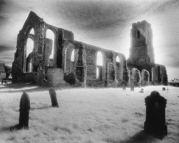 Bell Tower; Ruined; Ruin; Remains; Churchyard; Cemetery; Graveyard; Tombstones; Gravestones; Eerie; Atmospheric; Sinister; Ghostly; Dramatic; Striking; Mysterious; Gothic; Medieval; Architecture; English; Exterior; Landscape Poster featuring the photograph Church Of St Andrew by Simon Marsden