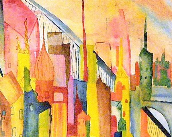 Water Color Paintings Poster featuring the painting City  by Katina Cote