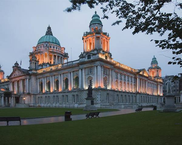 Urban Scene Poster featuring the photograph City Hall Illuminated Belfast, County by Peter Zoeller
