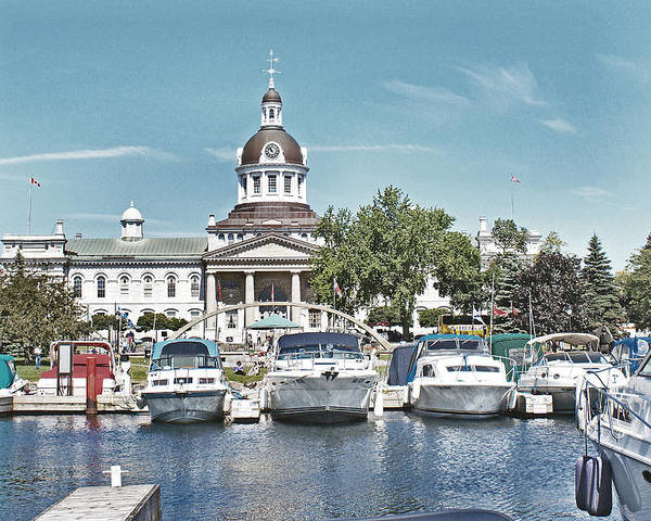 Kingston Poster featuring the photograph City Hall Kingston Ontario Canada by Peggy Holcroft
