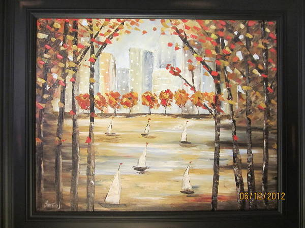 Trees Poster featuring the painting City Scape by Modern Palette Art