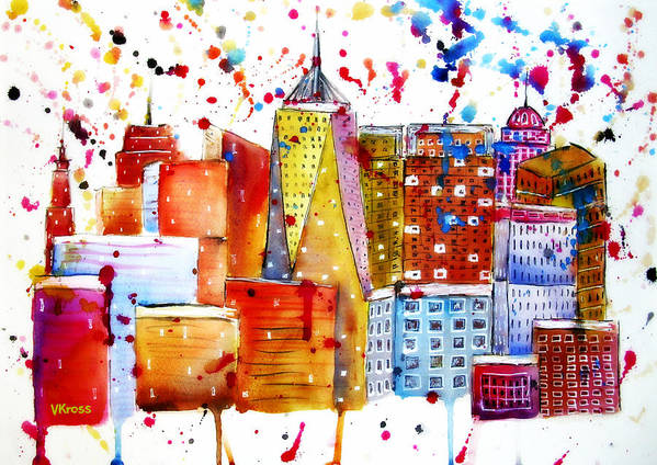 Poster featuring the painting Cityscape 1 by Valentina Kross