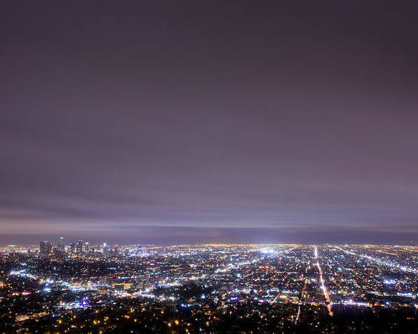 Horizontal Poster featuring the photograph Cityscape, Los Angeles by Eric Lo