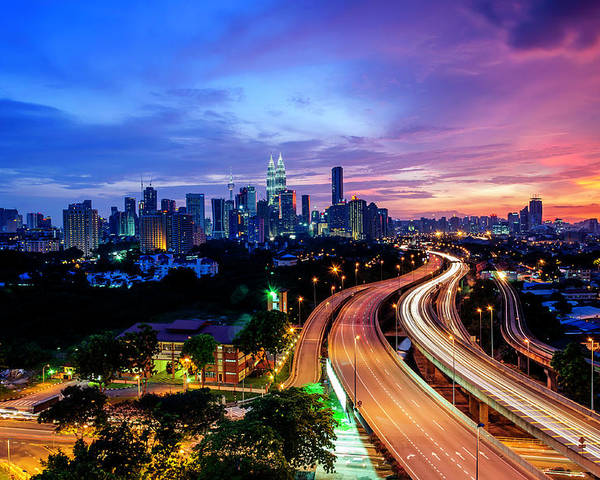 Horizontal Poster featuring the photograph Cityscape Of Kuala Lumpur by by Arief Rasa