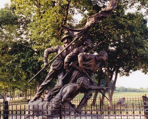 Civil War Poster featuring the photograph Civil War Soldiers Monument by Barbara Plattenburg