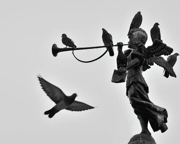 Horizontal Poster featuring the photograph Clarinet Statue by CarlosAlbertoPhoto