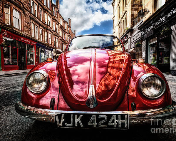 Hdr Poster featuring the photograph Classic Vw On A Glasgow Street by John Farnan