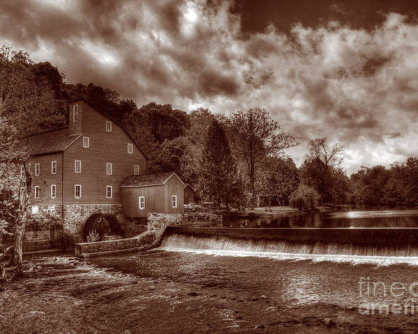 Sepia Poster featuring the photograph Clinton Red Mill House Sepia by Lee Dos Santos