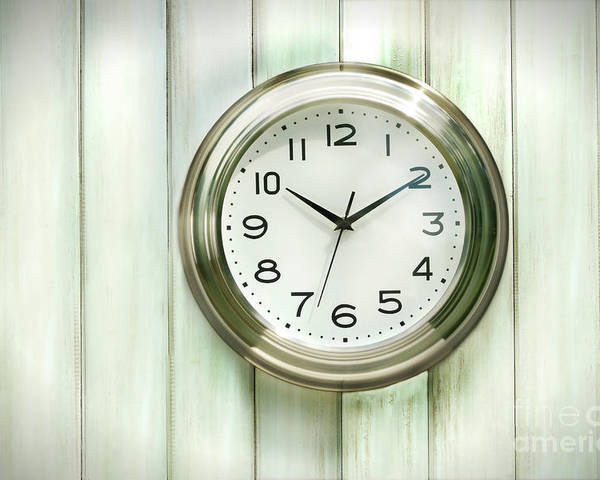 Analog Poster featuring the photograph Clock On The Wall by Sandra Cunningham