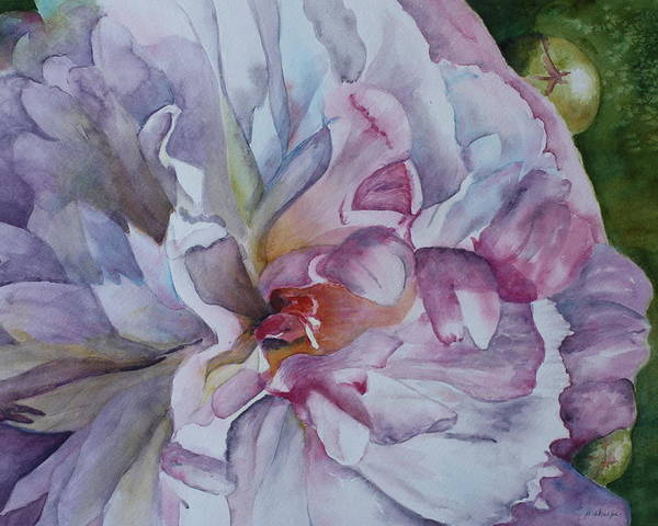 Close Up Floral Poster featuring the painting Close Focus Peony by Patsy Sharpe